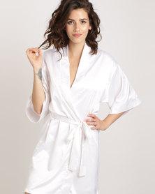 Lila Rose Short Kimono Robe White