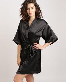 Lila Rose Short Mrs Kimono Robe Black