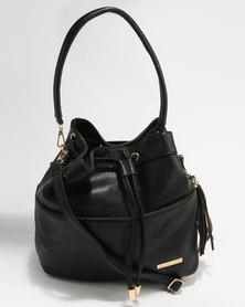 Blackcherry Bag Drawstring Bucket Bag Black