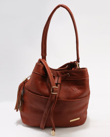 Blackcherry Bag Drawstring Bucket Bag Tan