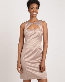 G Couture Satin Keyhole Dress Stone
