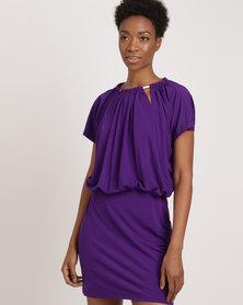 G Couture Gold Trim Ruch Dress Purple