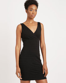 G Couture Bandage Bodycon Dress Black