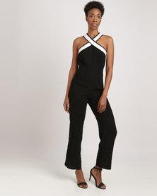 G Couture Cross Neck Monochrome Jumpsuit Black