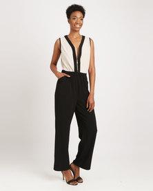 G Couture Cross Neck Zip Front Jumpsuit Black/Gold