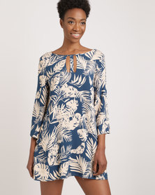 G Couture Palm Print Tunic Top Multi