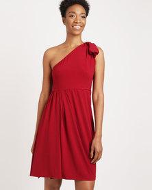 G Couture One Shoulder Stretch Dress Burgandy