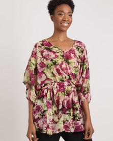 G Couture Rose Print Kimono Multi