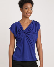 G Couture Gathered Top Royal Blue
