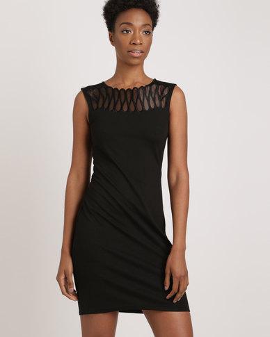 00ba23a5161 G Couture Neck Detail Mesh Dress Black