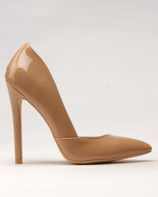 Noir High Heel Pointy Court Nude