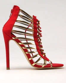Noir High Heel Cage Sandal Red