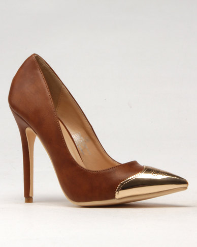 Noir Noir High Heel Court Shoe Tan 100% original cheap price N2vq3V0u