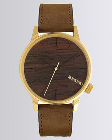Komono Winston Wood Dial Watch Brown/Gold-tone