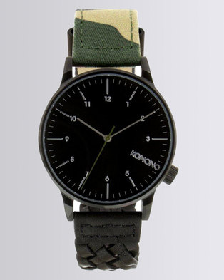 Komono Winston Strap Watch Black/Army