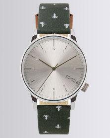Komono Printed Strap Watch Green