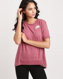 Nike Women's Sportswear Gym ClimaCool Crew Short Sleeve Tee Purple