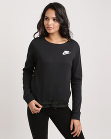 Nike Women's Nike Sportswear AV15 Crewneck Fleece Top Black