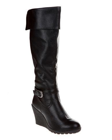 d096308009f22 Utopia Buckle Wedge Boots Black