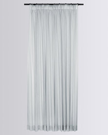 Design Collection Shimmer Sheer Taped Curtain Silver