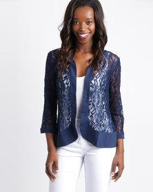 Queenspark Lace Knit Jacket Blue