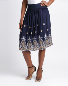 Queenspark Adele Embroidered Woven Skirt Navy