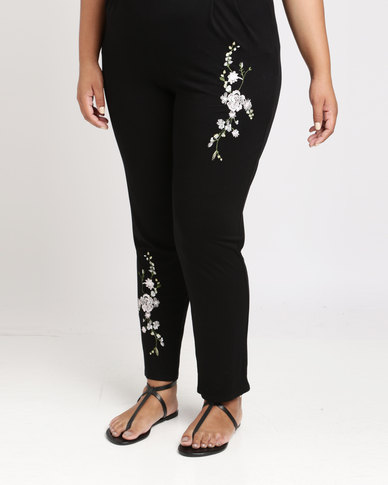 Queenspark Plus Embroidered Knit Pant Black