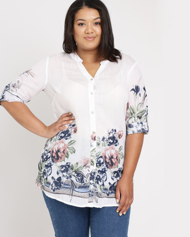 Queenspark Plus Blossom Border Printed Woven Shirt White