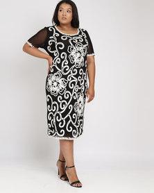Queenspark Plus Short Sleeve Cornelli Knit Dress Black