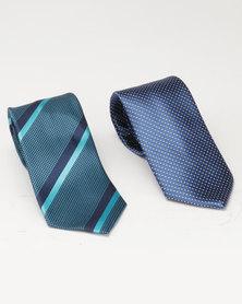 JCrew 2 Pack Emerald Fancy Tie Stripe/Navy
