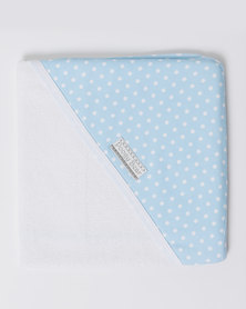 Poogy Bear Polkadot Hooded Towel  Blue