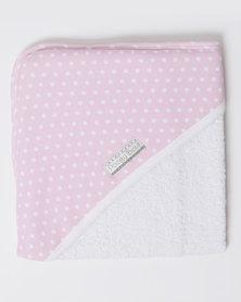 Poogy Bear Polkadot Hooded Towel Pink