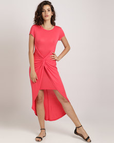 Pengelly Knotted Front Dress Coral