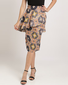 Pengelly Khany Frill Pencil Skirt Multi