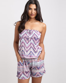 Slick Jessica Boobtube Shorts Jumpsuit Multi