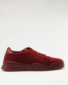 Paul of London Casual Lace Up Low Cut Sneakers Maroon