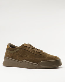 Paul of London Casual Lace Up Low Cut Sneakers Olive