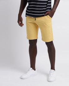 Unruly Basic Logo Jog Shorts Yellow