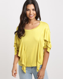 Slick May-Ling Frill Styled T-Shirt Chartruese
