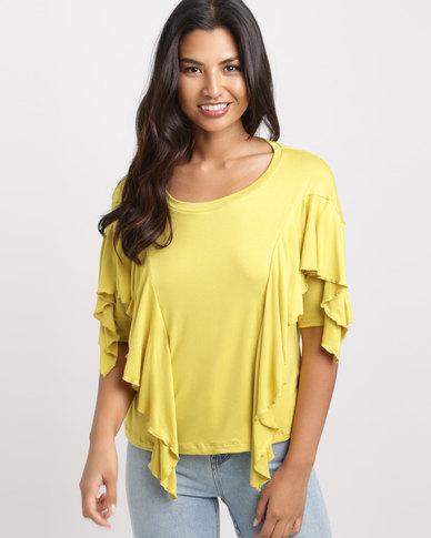 Slick May-Ling Frill Styled T-Shirt Chartruese