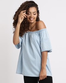 Holly Blue Short Sleeve Two Tone Top Blue