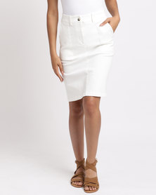 Holly Blue Military Stretch Skirt White
