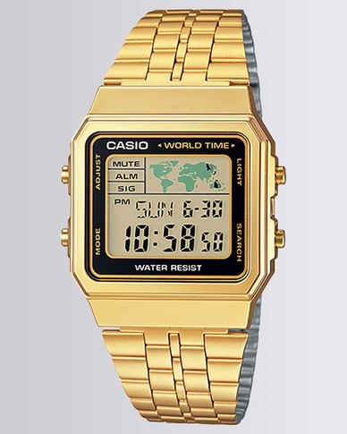 Casio Mens Digital Gold Black Retro Watch