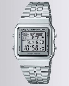 Casio Mens Digital Silver Retro Watch