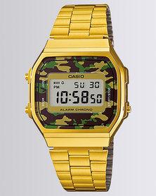 Casio Unisex Digital Gold Camo Retro Watch