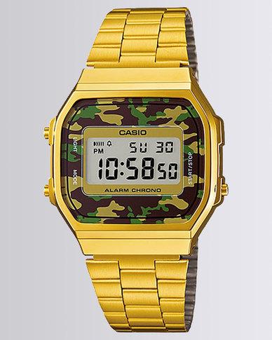 cdb3b5bdd4d2 Casio Unisex Digital Gold Camo Retro Watch
