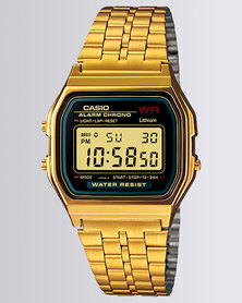 Casio Unisex Digital Gold Black Retro Watch