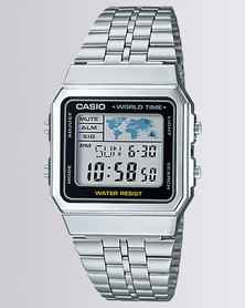Casio Mens Digital Silver/Black Retro Watch
