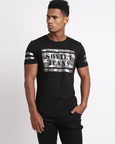 Soviet Men's United Fashion T-shirt With Print Black