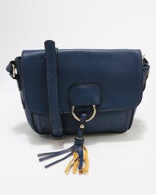 Blackcherry Bag Metal Ring Detail Cross Body Bag Blue